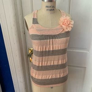 Body Central Gray and Pink striped flower tank